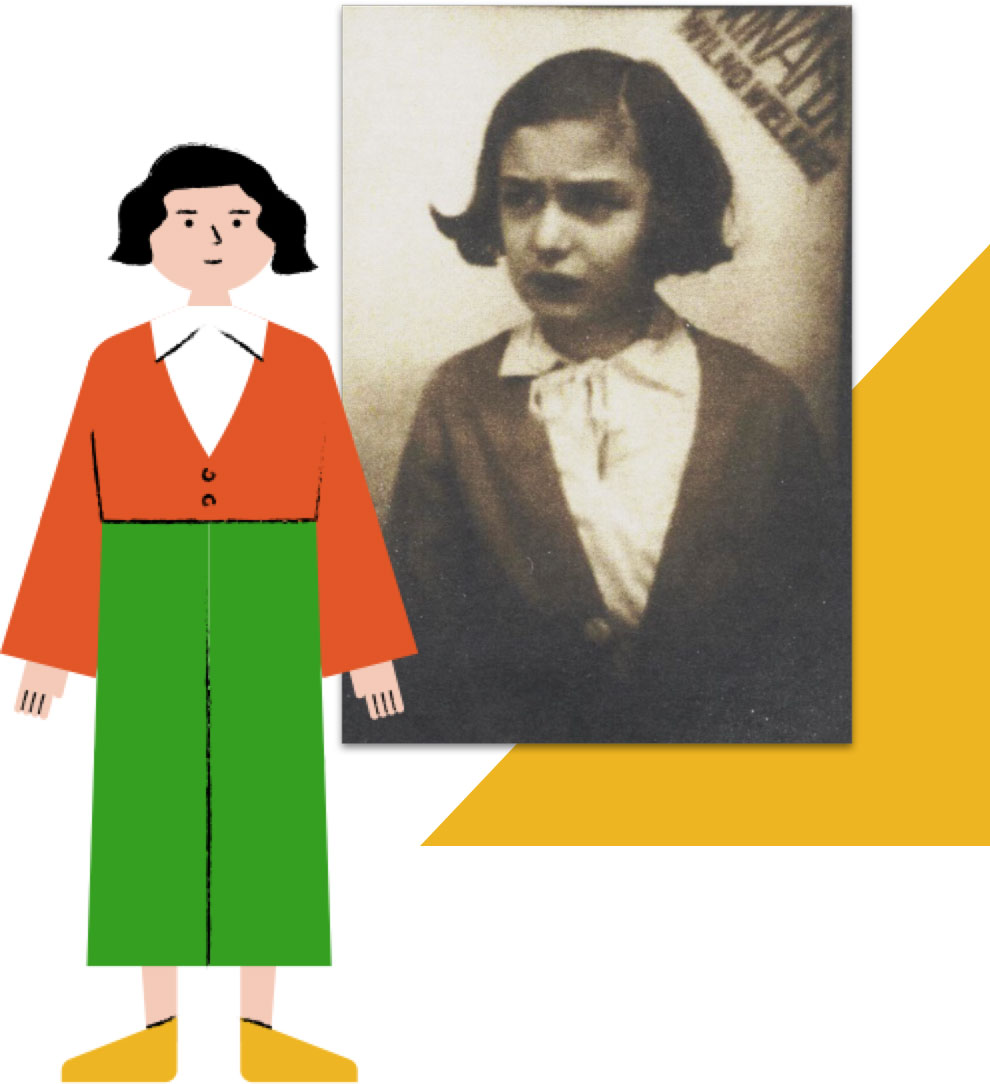 Illustration of Beba next to photo of Beba