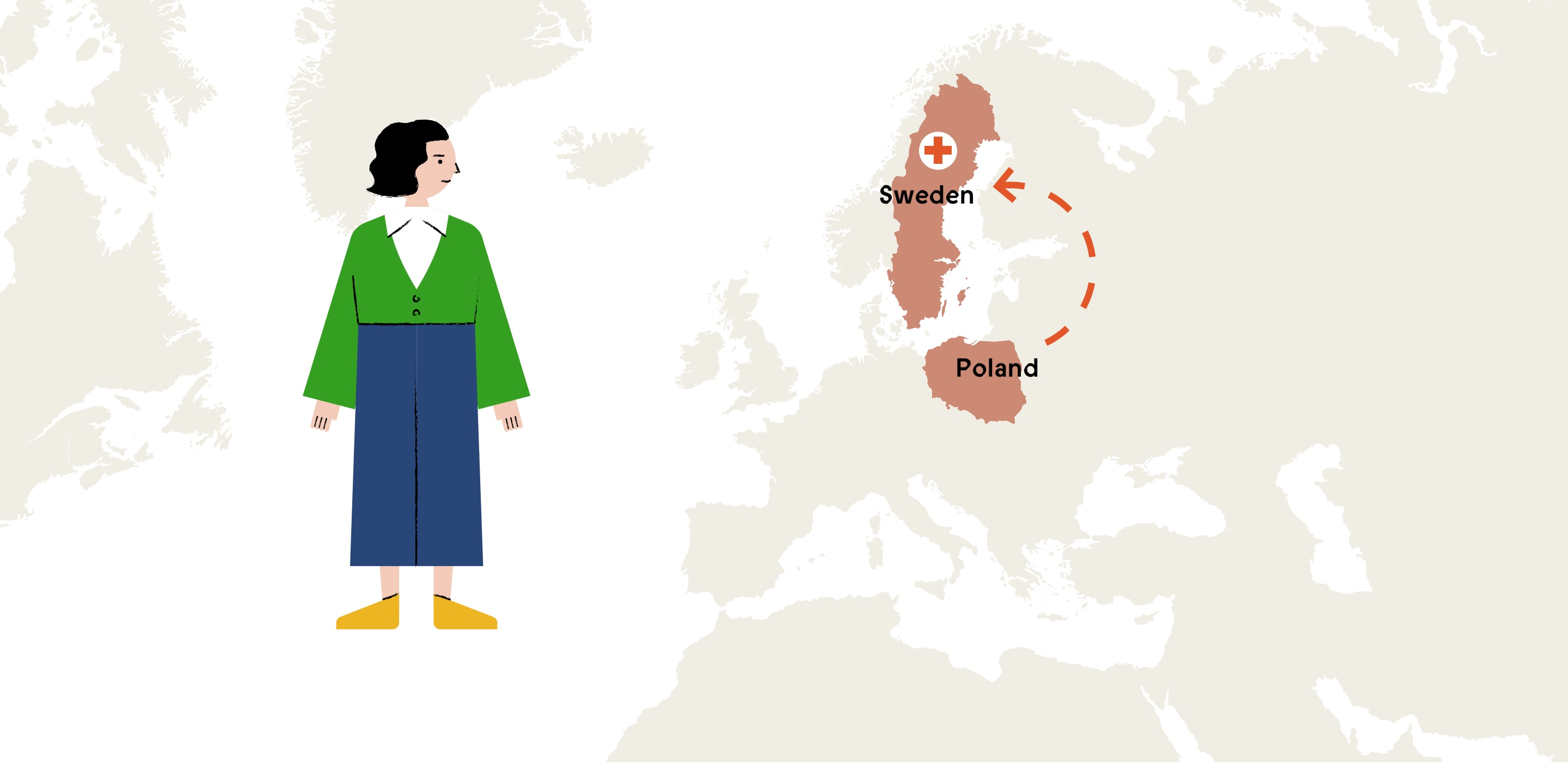 Illustration of Beba and a map highlighting Sweden.