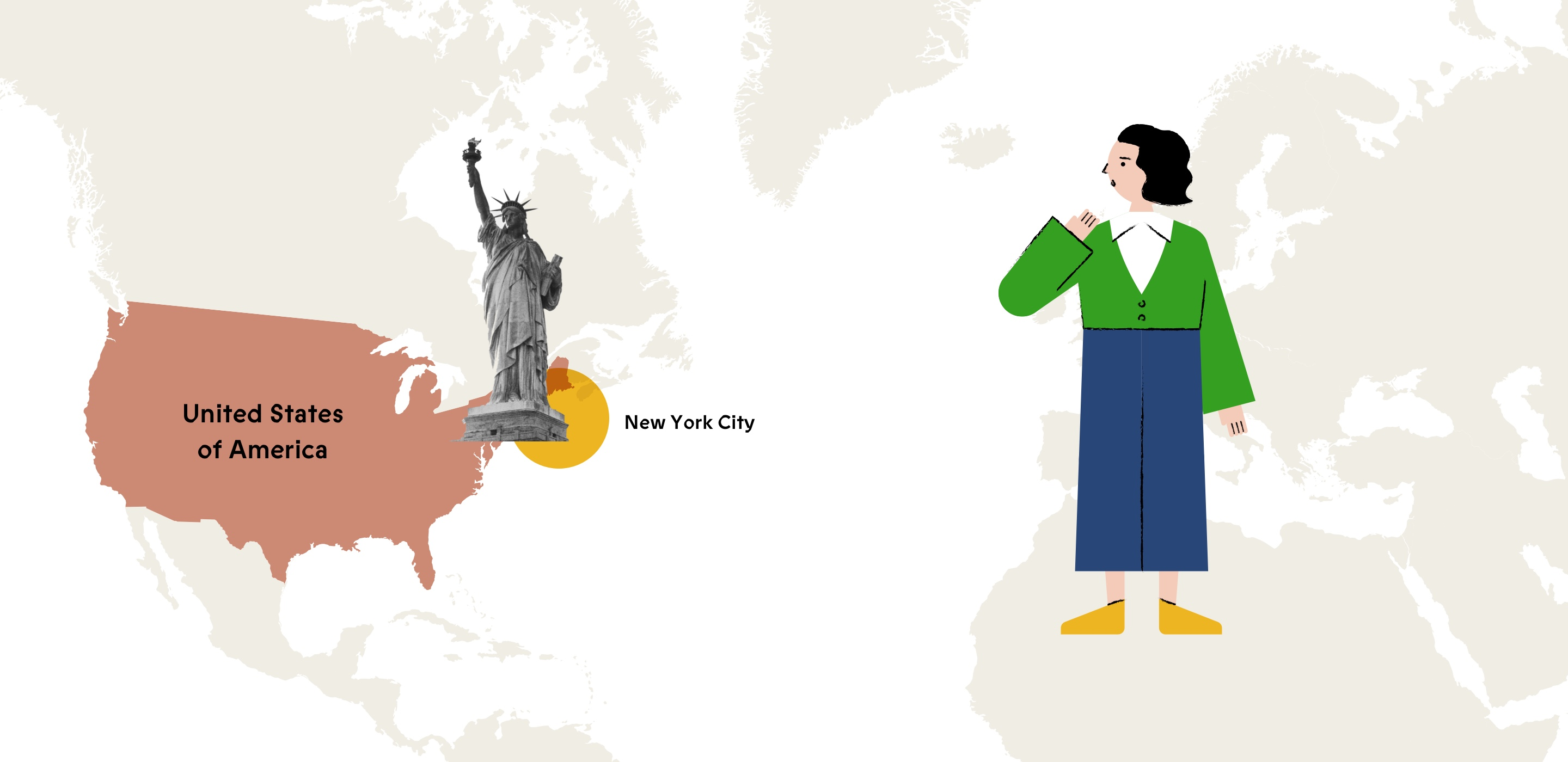 Illustration of Beba and a map highlighting the United States / New York