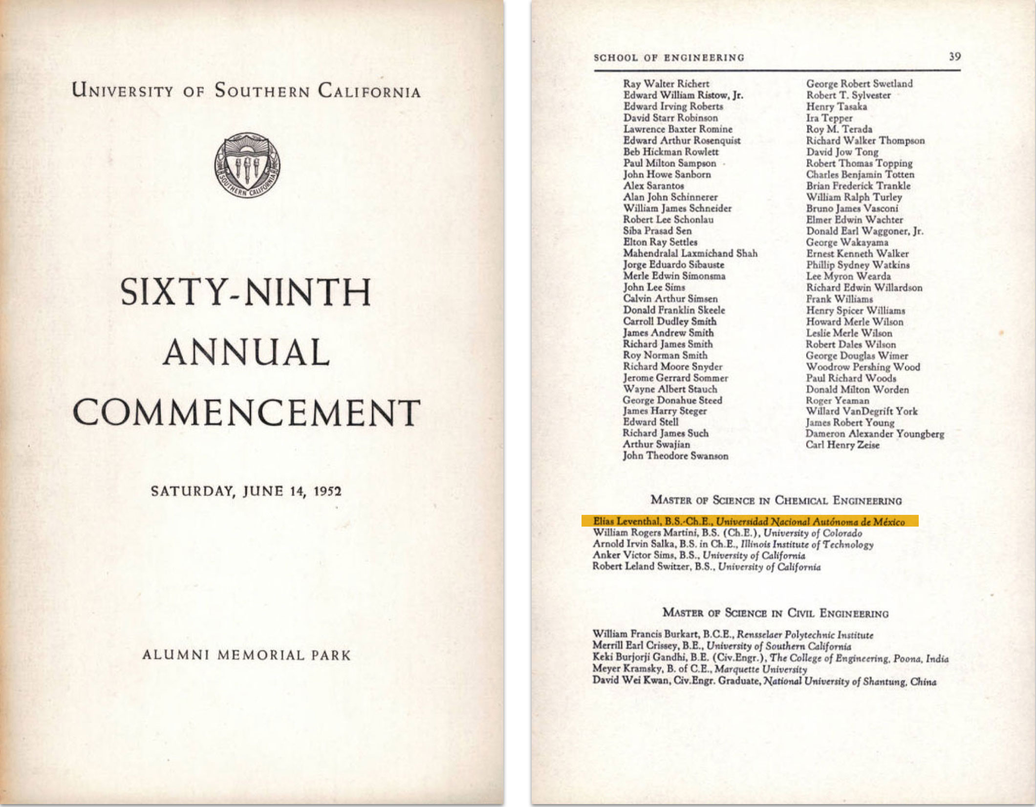 Photo of USC Sixty-ninth Annual Commencement program