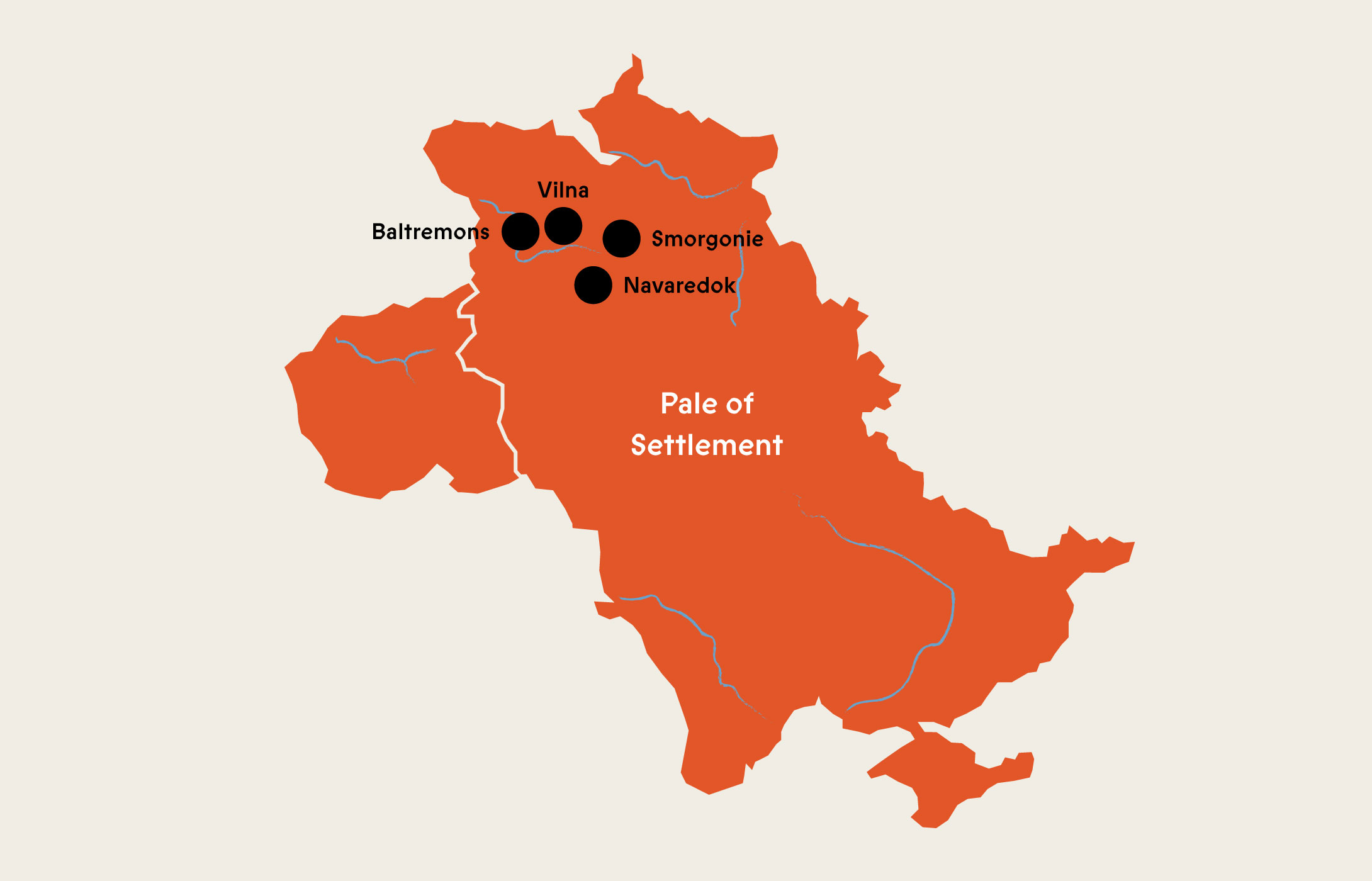 map showing location of cities where Beba's relatives were born