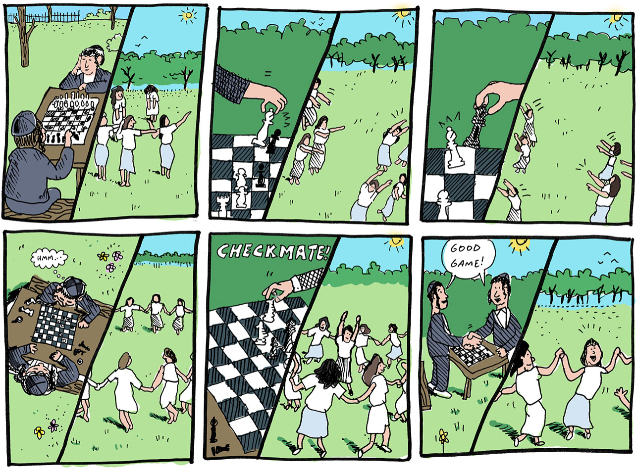 Comic book illustration of children playing chess