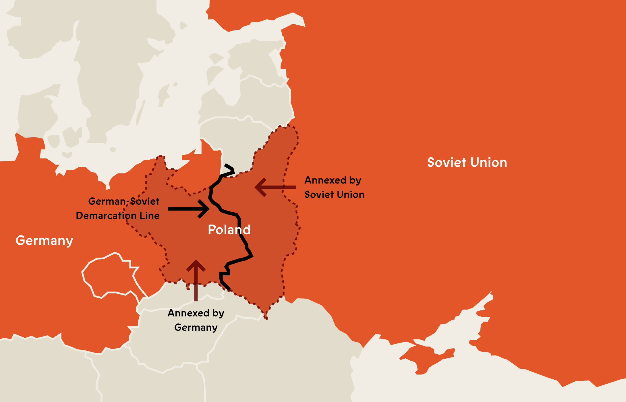 Map illustrating German Soviet Pact