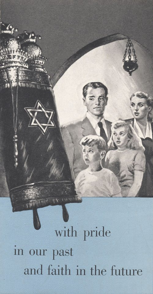 Cover of brochure including a family and a Torah