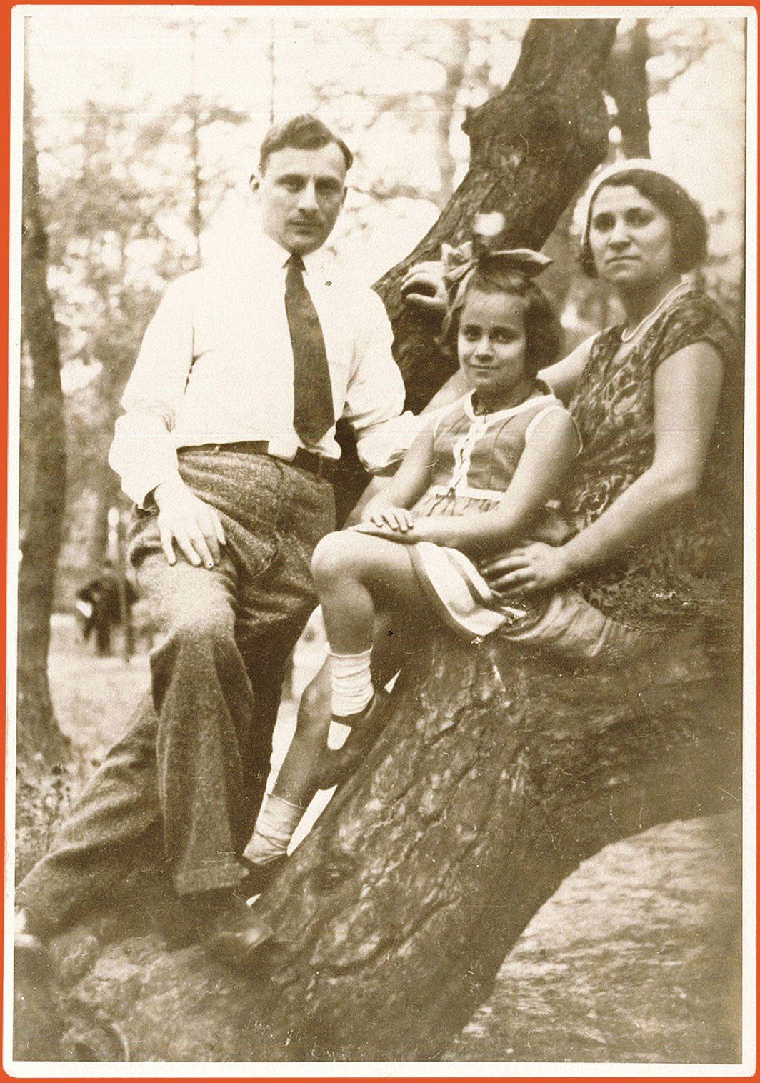 Family portrait taken in forest