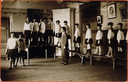 Gymnastics class as a girls school