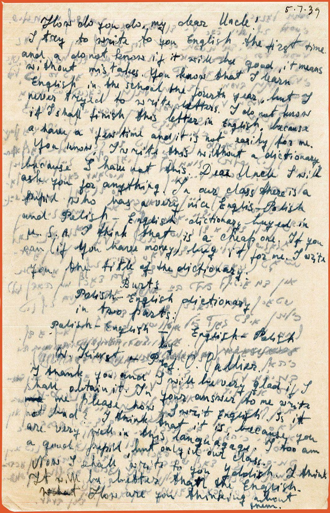 English half of letter from Beba