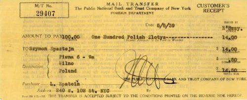 Money order sent to Beba's family