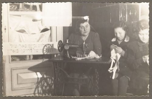 Two photographs of women sewing