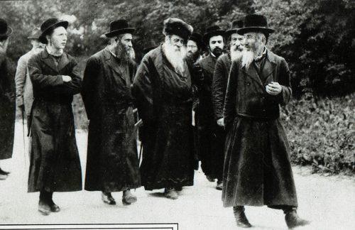 Hasidic Jews walking in a resort town