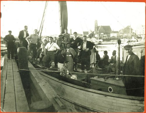 A group about to set sail on a trip