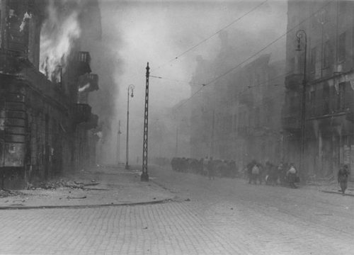 A smoke filled street in the Warsaw Ghetto