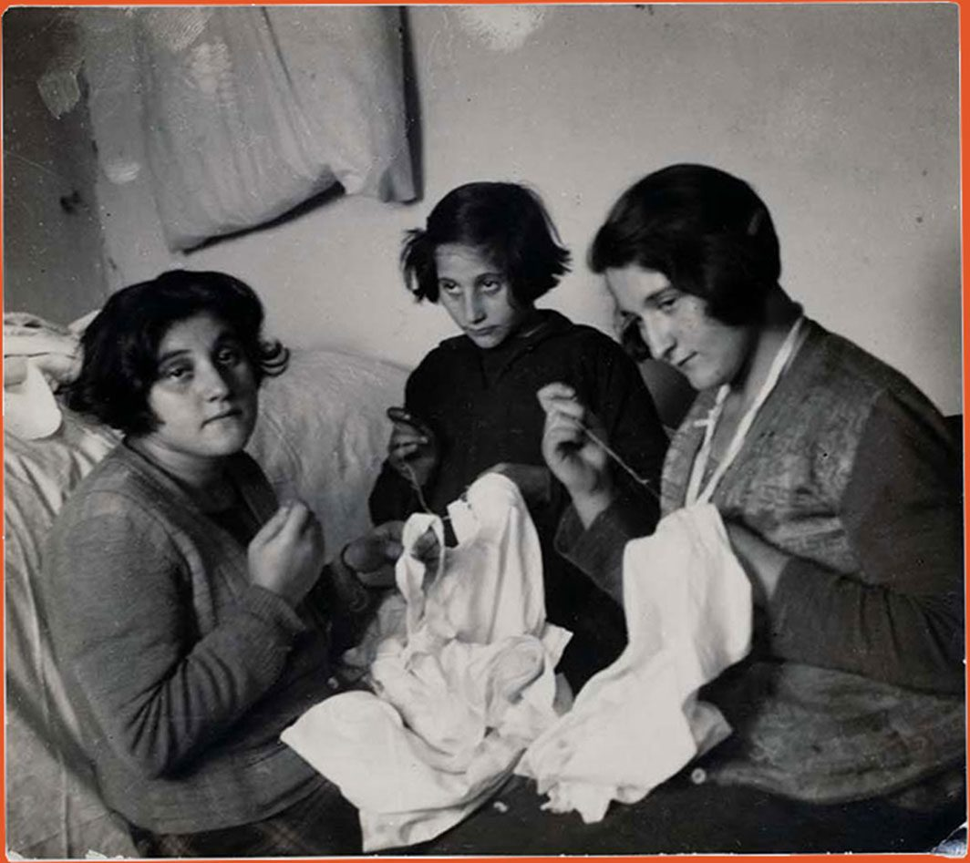 Photograph of three Jewish seamstresses