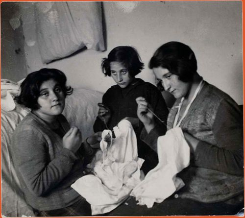 Photograph of three Jewish seamstresses