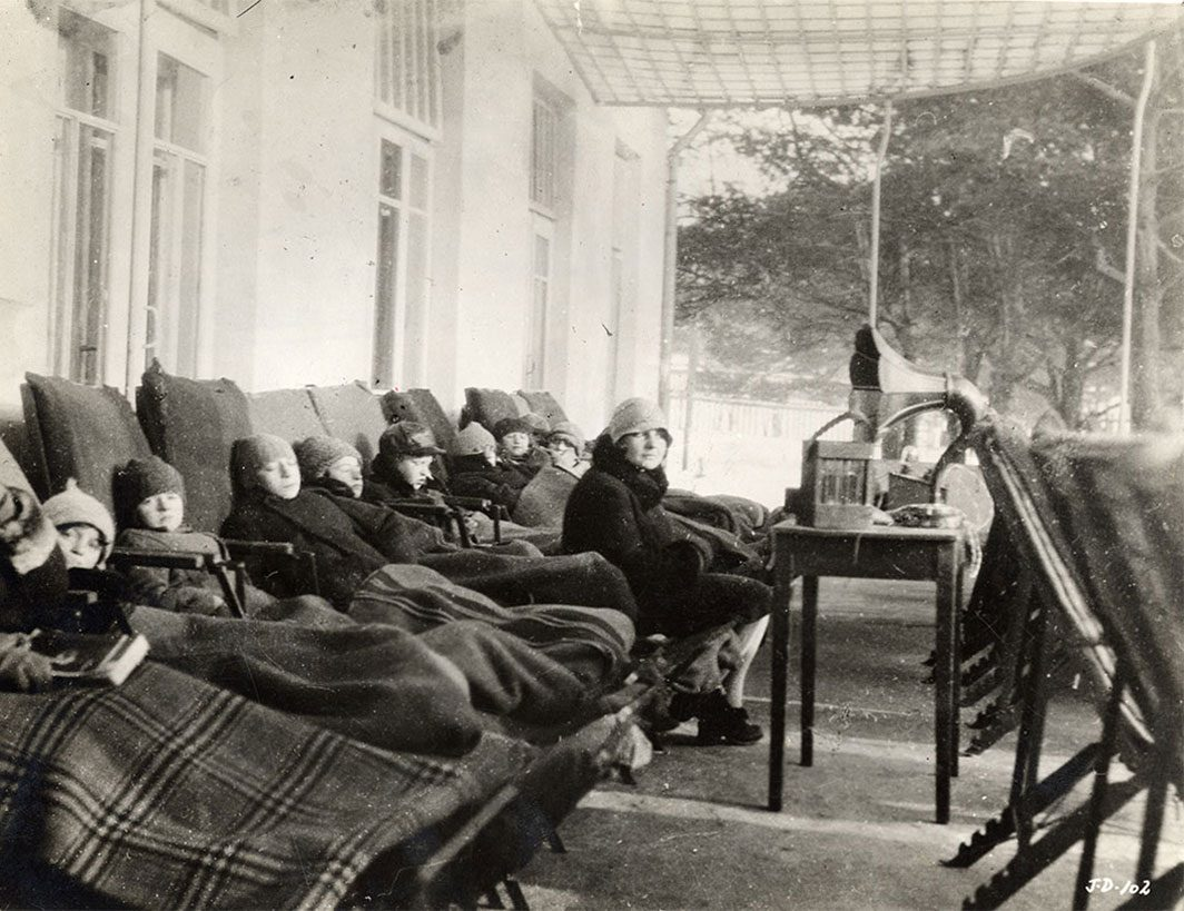 Children resting on the porch