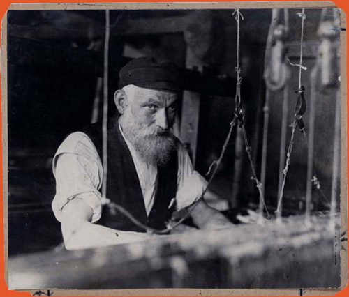 Portrait of Jewish weaver at his loom