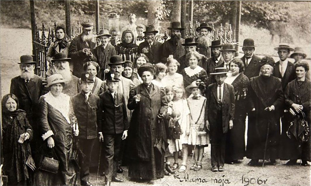 Large group of tourists at a mineral kiosk