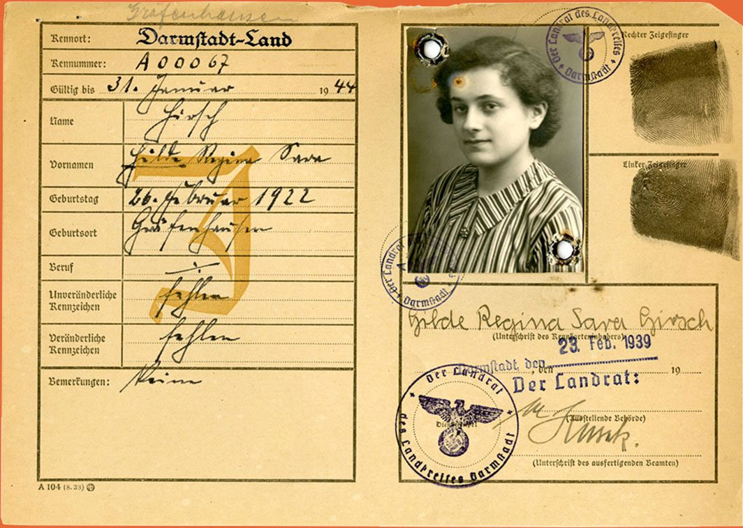 ID card of a Jewish woman in Germany