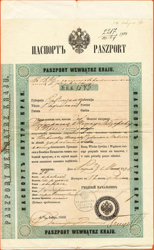 Passport in Russian permitting travel