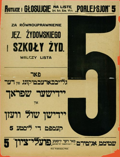 Poster appealing for equality of Jewish languages in school