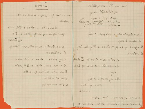 Two pages of the program in Yiddish