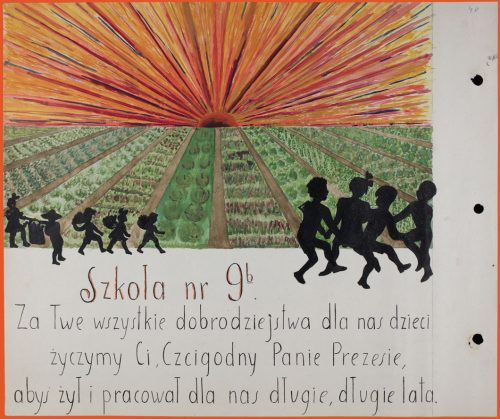 A drawing with children dancing in front of a field and sunset with an inscription in Polish