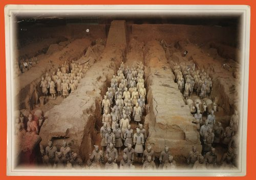 Postcard with photo of Chinese Terracota Army